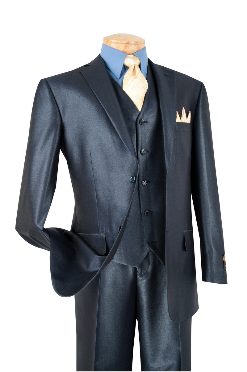 Nautilus Collection - Regular Fit Men's Suit 3 Piece 2 Button in Midnight Blue - SUITS FOR MENS