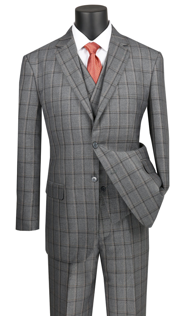 Atrani Collection - Regular Fit Windowpane Suit 3 Piece 2 Button in Gray - SUITS FOR MENS