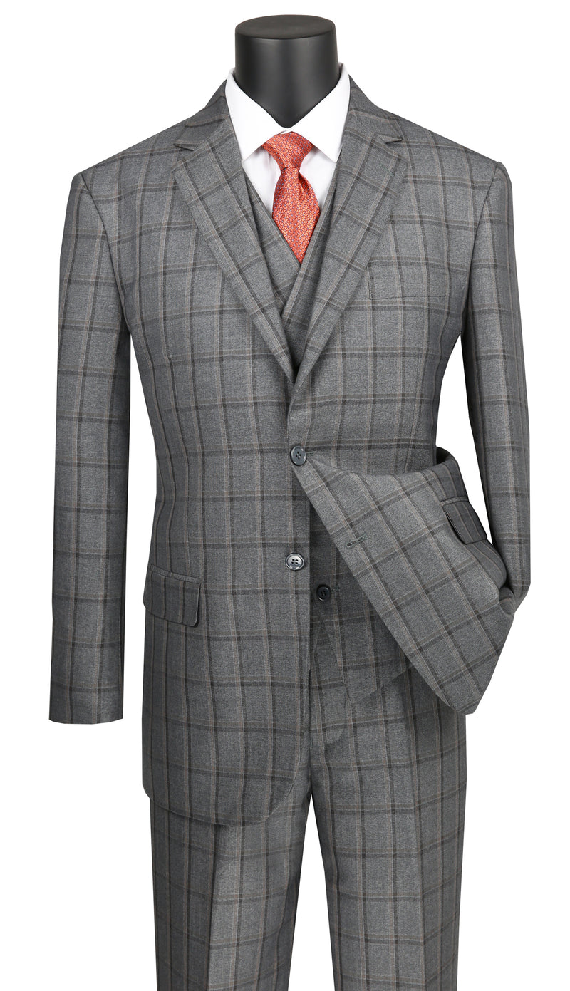 Atrani Collection - Regular Fit Windowpane Suit 3 Piece in Gray - SUITS FOR MENS
