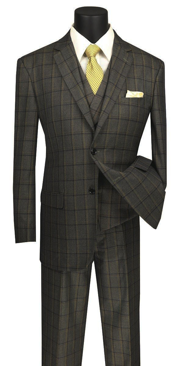Atrani Collection - Regular Fit Windowpane Suit 3 Piece in Brownish Olive - SUITS FOR MENS