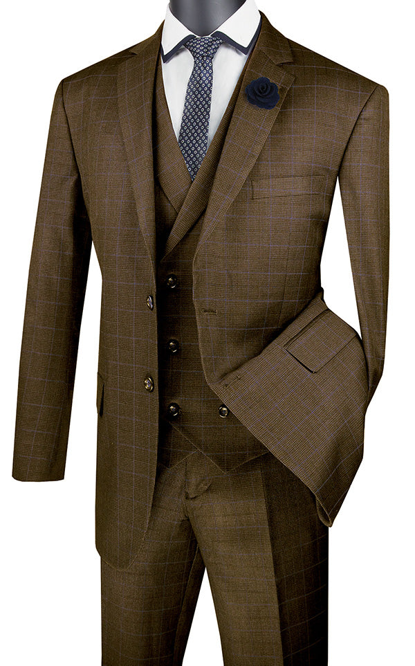Taupe Regular Fit Glen Plaid 2 Button 3 Piece Suit