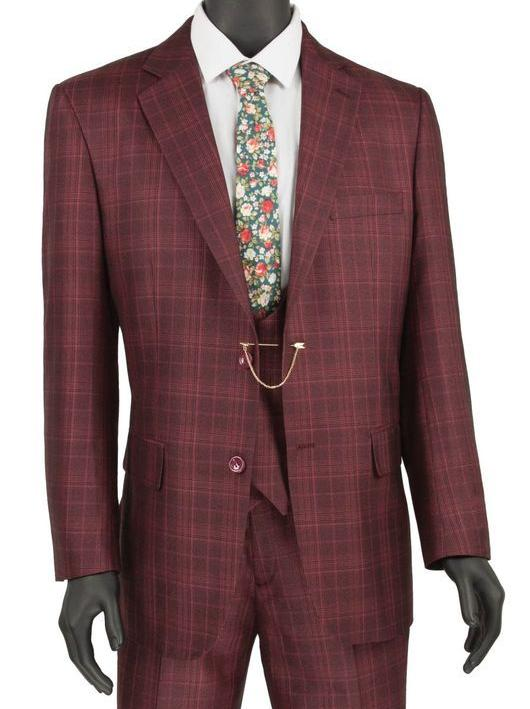 Renaissance Collection - Regular Fit 3 Piece Burgundy Suit - Mens Suits