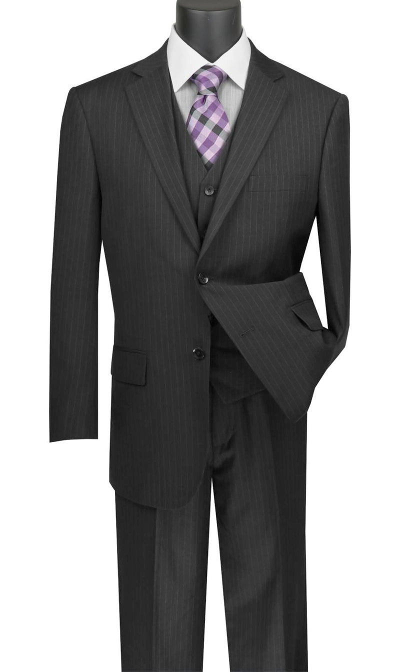 Sovana Collection - Regular Fit 3 Piece Suit 2 Button Tone on Tone Stripe in Black - SUITS FOR MENS