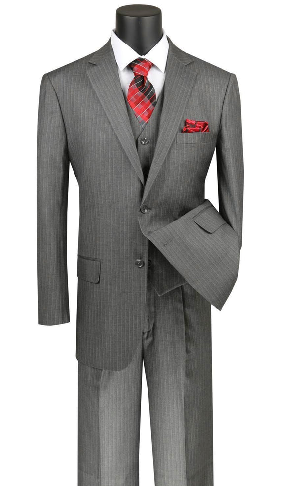 Sovana Collection - Regular Fit 3 Piece Suit 2 Button Tone on Tone Stripe in Gray