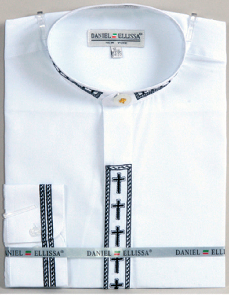 Men's Banded Collar Embroidered Shirt in White/Black - SUITS OUTLETS
