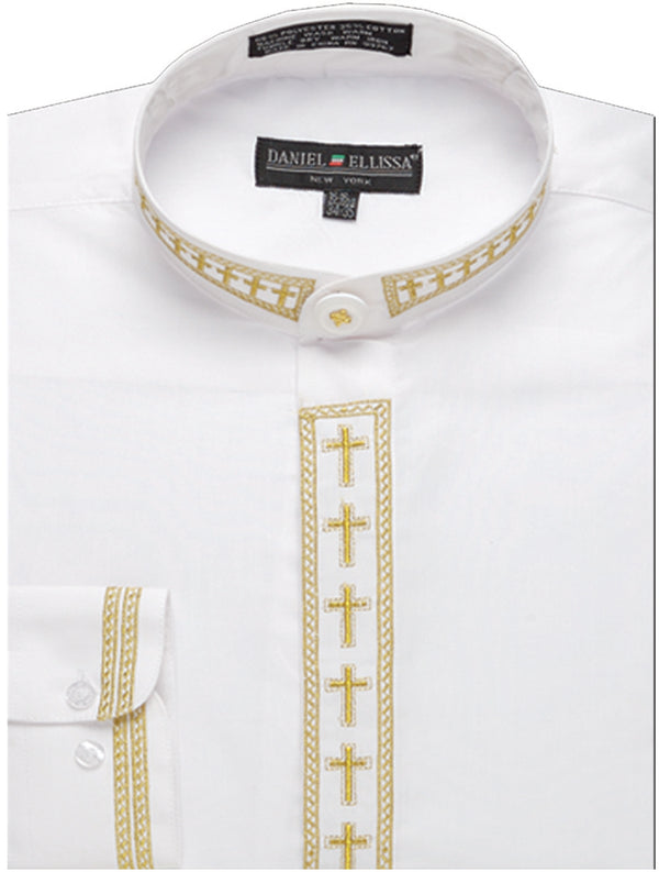 Men's Banded Collar Embroidered Shirt in White/Gold - SUITS FOR MENS