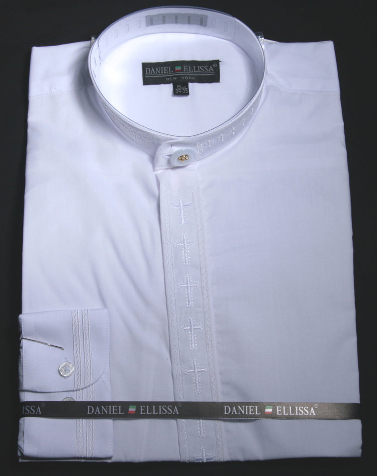 Men's Banded Collar Embroidered Shirt in White/White - SUITS OUTLETS