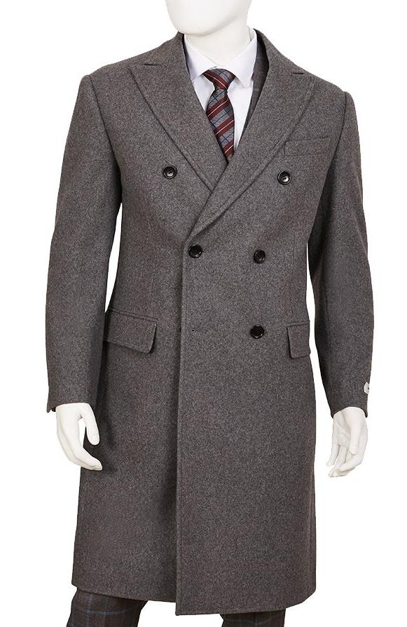 Wool Blend Overcoat Double-Breasted Regular Fit Gray