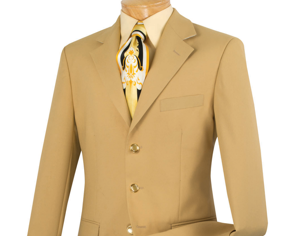 Gold Men's Regular Fit Blazer Three Buttons Design - SUITS OUTLETS