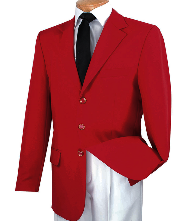 Red Regular Fit 3 Button Blazer - SUITS FOR MENS