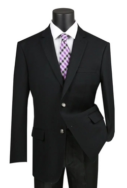 Regular Fit Blazer 2 Button in Black - SUITS FOR MENS