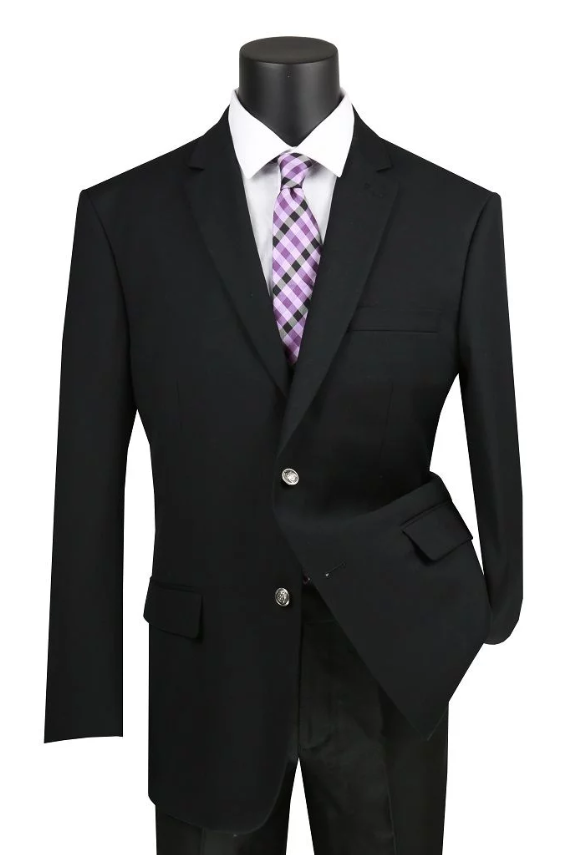 Velvet Regular Fit Blazer 2 Button in Black