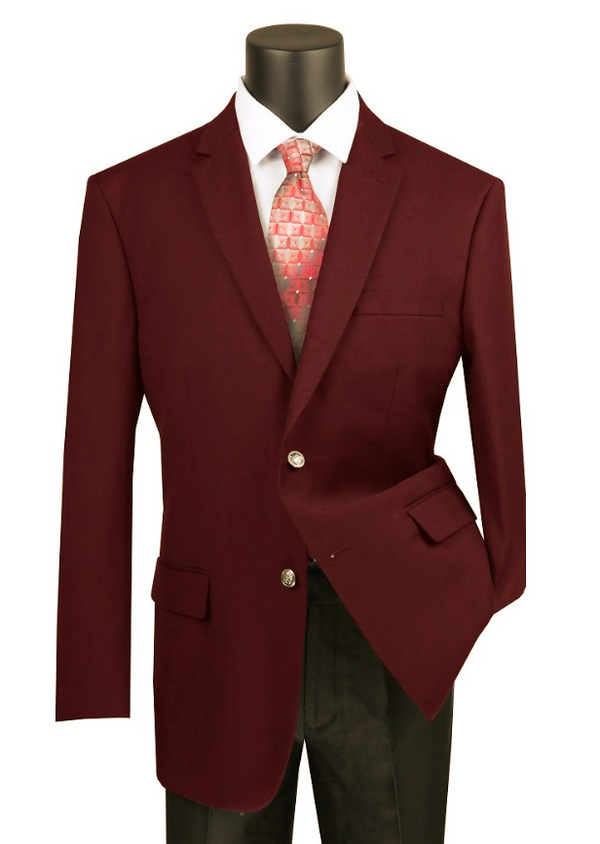 Velvet Regular Fit Blazer 2 Button in Burgundy