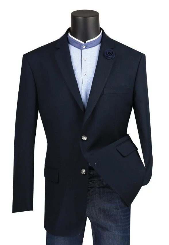Velvet Regular Fit Blazer 2 Button in Navy