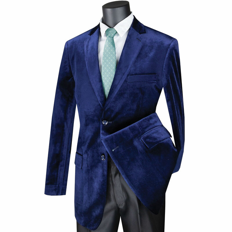 Velvet Regular Fit Fashion Jacket in Sapphire