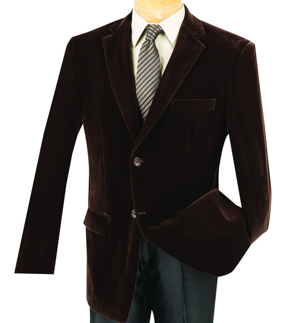 Luxurious Velvet Regular Fit Fashion Jacket in Brown - SUITS FOR MENS