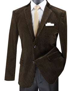 Slim Fit Corduroy Blazer 2 Button in Brown - SUITS FOR MENS