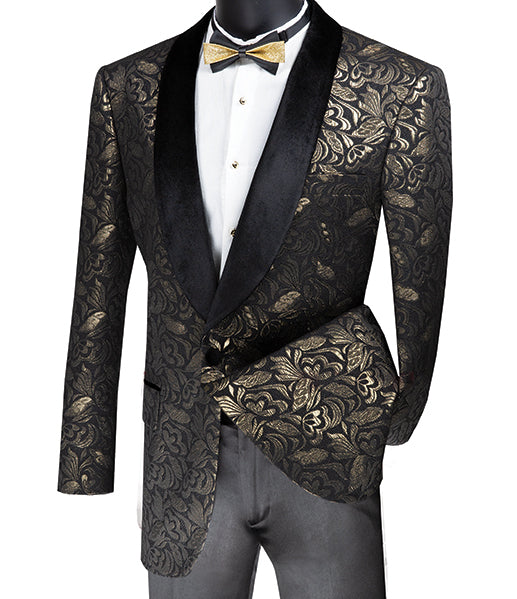Regular Fit Floral Pattern Jacket Shawl Lapel in Gold