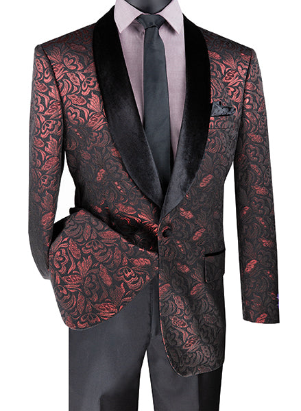 Regular Fit Floral Pattern Jacket Shawl Lapel in Ruby