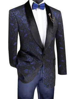 Regular Fit Floral Pattern Jacket Shawl Lapel in Sapphire - SUITS FOR MENS