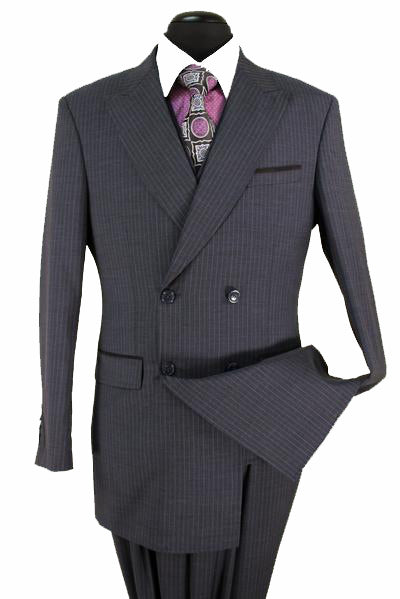 Black Stripe Suit Luxury 100% Wool Year Round Regular Fit 3 Piece Set - SUITS OUTLETS