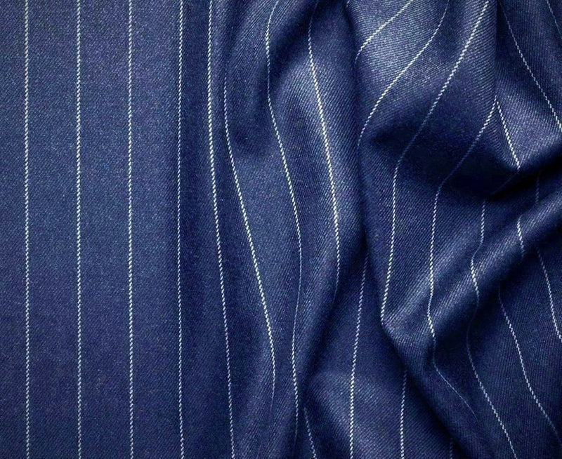 Rockefeller Collection - Double Breasted Stripe Suit Blue Regular Fit 2 Piece - SUITS FOR MENS
