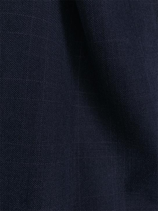 Olympia Collection - Glen Plaid Regular Fit Suit 3 Piece Navy Blue