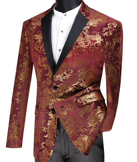 Slim Fit Velvet Jacket 2 Button Peak Lapel Paisley Pattern in Maroon/Gold - SUITS FOR MENS