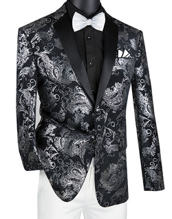 Slim Fit Velvet Jacket 2 Button Peak Lapel Paisley Pattern in Black/Sliver - SUITS FOR MENS