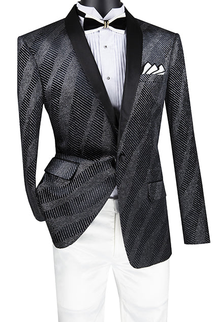 Slim Fit Velvet Party Jacket 1 Button Shawl Lapel in Black - SUITS FOR MENS