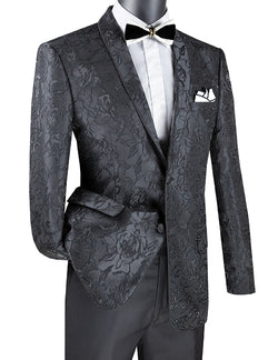 Black Slim Fit Blazer Floral Pattern 2 Button With Shawl Lapel