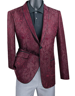 Burgundy Slim Fit Blazer Floral Pattern 2 Button With Shawl Lapel