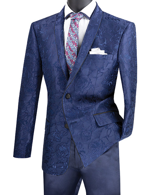 Navy Slim Fit Blazer Floral Pattern 2 Button With Shawl Lapel