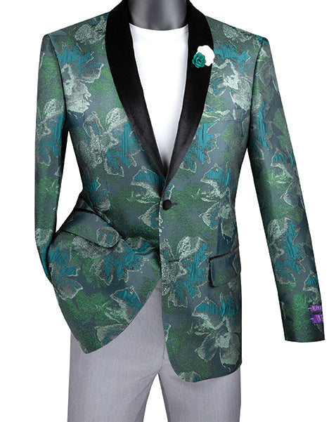 Slim Fit Floral Pattern Jacket Shawl Lapel in Emerald - SUITS FOR MENS