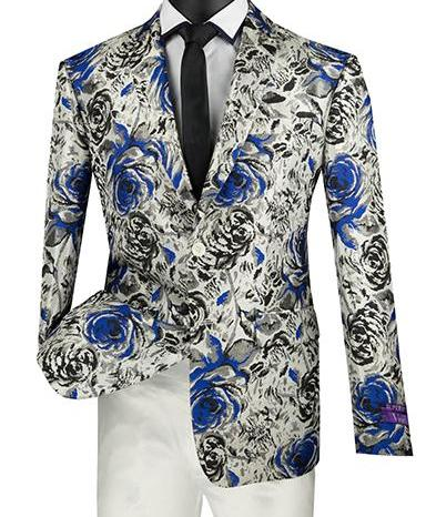 Slim Fit Floral Design Jacket in Blue