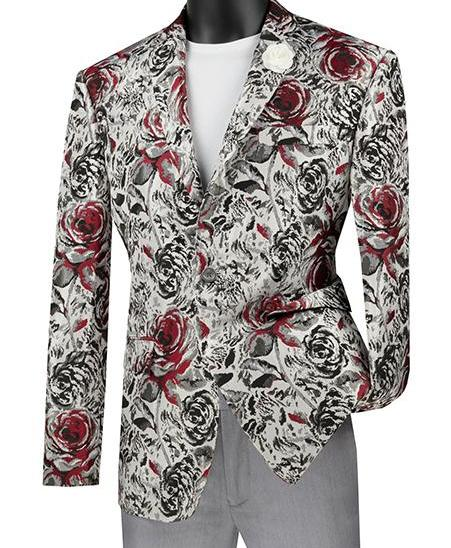 Slim Fit Floral Design Jacket in Red