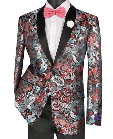 Slim Fit Art Design Jacket with Shawl Lapel in Burgundy