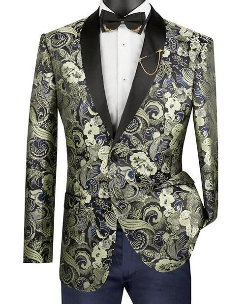 Slim Fit Art Design Jacket with Shawl Lapel in Gold
