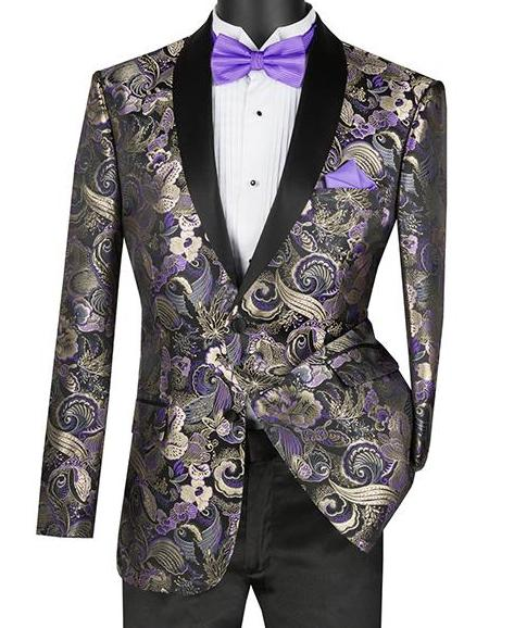 Slim Fit Art Design Jacket with Shawl Lapel in Purple