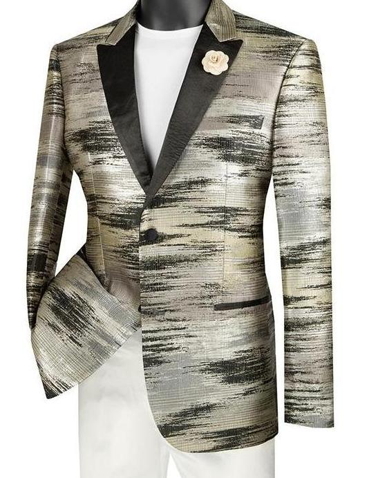 Black Slim Fit Jacket Peak Lapel with Metallic Pattern - SUITS FOR MENS