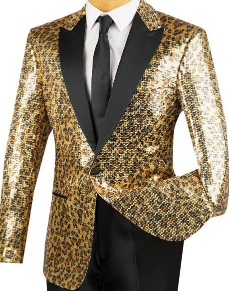 Regular Fit Gold Sequins Party Jacket With Trim Leopard Pattern - Mens Suits
