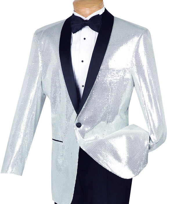 Spotlight Collection - Regular Fit Sliver-White Sequins Party Jacket
