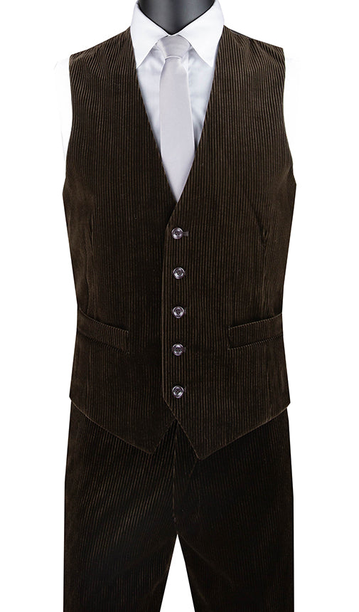 Slim Fit Corduroy Vest with Matching Pants Slim Fit in Brown - SUITS FOR MENS