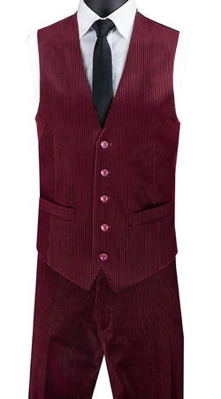 Slim Fit Corduroy Vest with Matching Pants Slim Fit in Burgundy - SUITS FOR MENS
