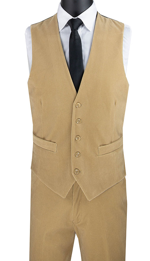 Slim Fit Corduroy Vest with Matching Pants Slim Fit in Khaki