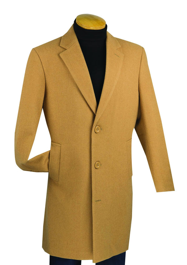 "38"" Long Fall/Winter Essential Regular Fit Men's Top Coat In Camel - SUITS FOR MENS"