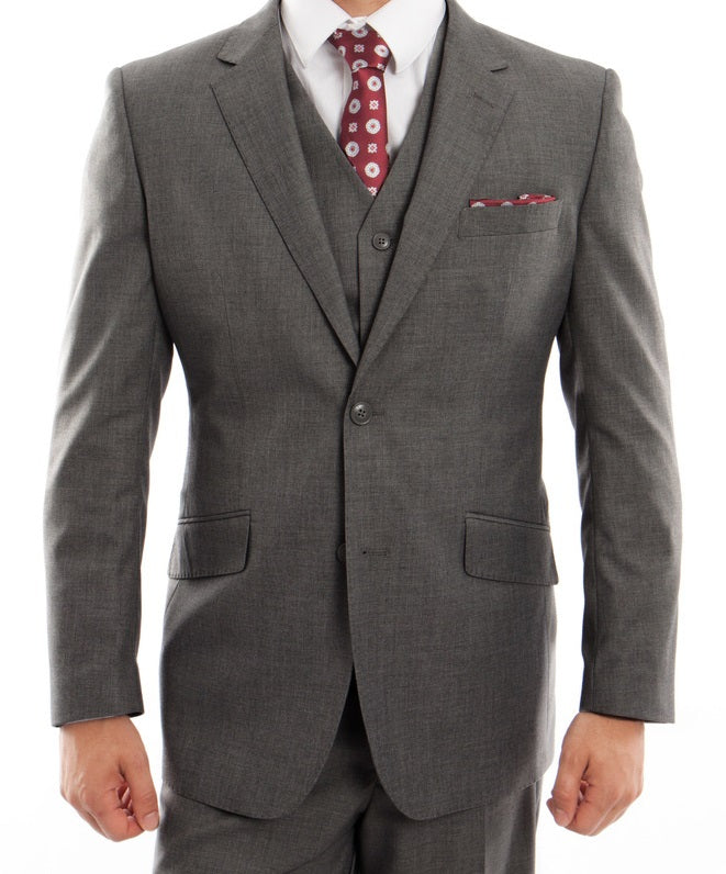 Arezzo Collection - Wool Suit Modern Fit Italian Style 3 Piece in Dark Gray - SUITS FOR MENS