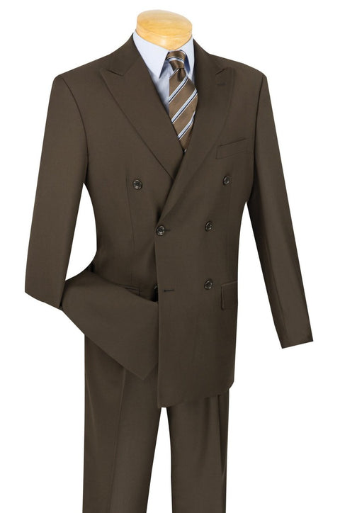 Double Breasted Men's Brown Suit Regular Fit - SUITS OUTLETS