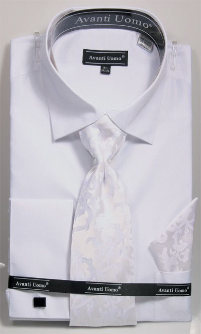 Men's Regular Fit Shirt with Tie and Handkerchief in White