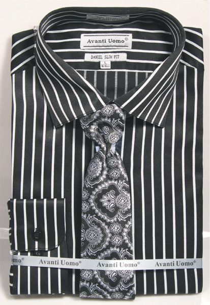 Men's Slim Fit Stripe Shirt with Tie and Handkerchief in Black/Silver